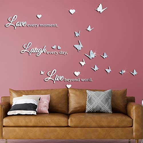 3D Spiegel Schmetterling Wandaufkleber Love Laugh Live Wand Buchstaben Aufkleber, VASZOLA DIY Abnehmbare Wandtattoo Herz Wand Decor für Hause Dekoration Abziehbild (Silber)