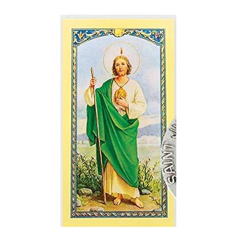 Gifts by Lulee, LLC San Judas Tadeo Patron de lo Imposible Alfiler de Solapa con Oracion para Obtener Empleo Importada de Italia y Bendecida por Su Santidad