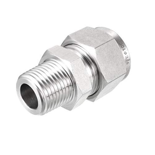 uxcell Stainless Steel Compression Tube Fitting 1/2NPT Male x 3/4 Tube OD