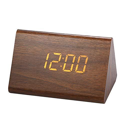 LANCARDO - Reloj Despertador de mesita de Noche de Madera LED, Temperatura...