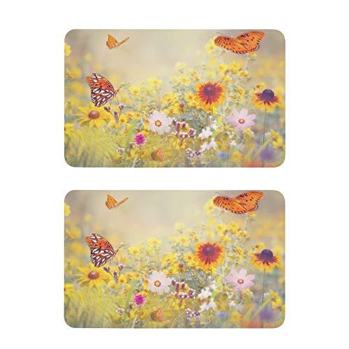 Mnsruu Imanes decorativos para nevera, mariposas y flores, 2 unidades