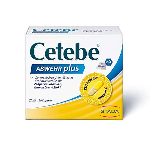 Cetebe Abwehr plus - Nahrungsergänzungsmittel zur dreifachen Unterstützung der Abwehrkräfte mit ZEITPERLEN® - Vitamin C, Vitamin D und Zink - 1 x 120 Kapseln