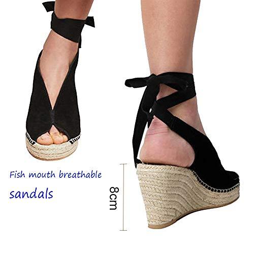 Sandals dames zomer, vrouwen elegante wighak espadrilles, Plateau enkelriem gesp wigsandalen, vlak leer Peep Toe comfortabele casual schoenen, 8 cm hoge hak zwart
