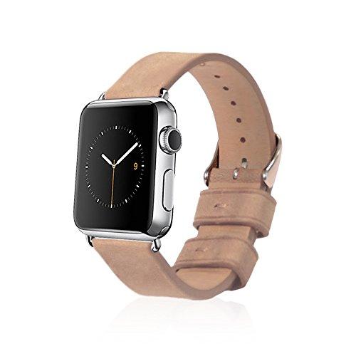 Monowear MWLTRD20POSI - Correa de piel con cierre de acero inoxidable pulido para Apple Watch de 38 mm