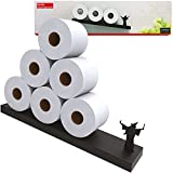 Floating Shelf Toilet Paper Holder - Tilted Diagonal Metal Shelf for Easy Bathroom Storage - Modern Wall Mount Organizer for Rolls Tissues or Towels Above Sink or Over Toilet