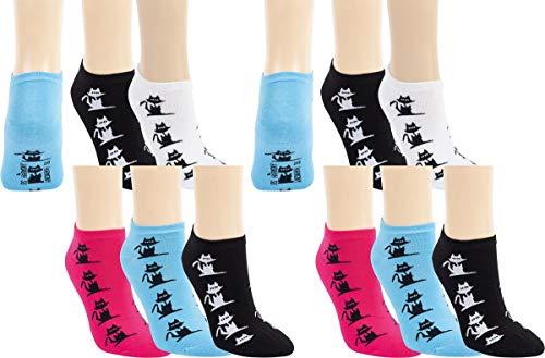 RS. Harmony | Sneaker Socken bunte Katze für Damen | 12 Paar | schwarz, pink, weiß, hellblau - gemischt | 39-42