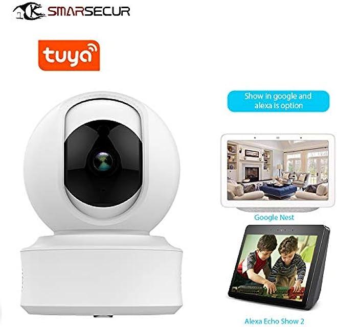 SAMSECUR® TY-1080P-F7 Cámara de seguridad de 64 GB Wi Fi360 ° monitor para bebé cámara IP 1080P FHD Cámara inalámbrica para mascotas compatible con Amazon Alexa y Google Echo