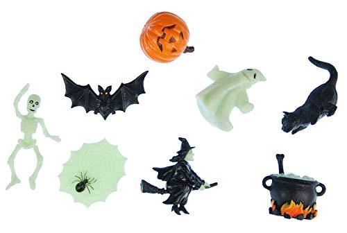Miniblings 6X Halloween Aufstellfigur Gummitier Hexen Kessel Geist Kürbis Mix