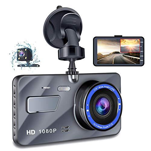 Dash Cam, 4 Inch Car Camera-Car Camcorder Super HD 1080P LCD Display Recorder with Front+VGA Rear 290°Super Wide Angle Built-in G-Sensor Night Vision Recording Loop Recording and Parking Monitorin