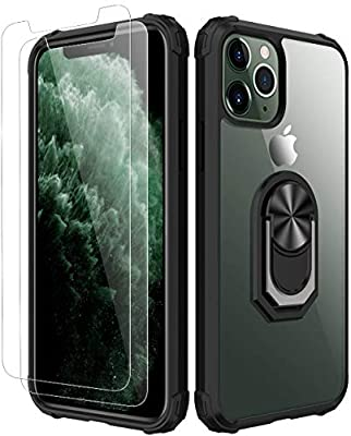 iPhone 11 pro Case,[ Military Grade ] with [ Glass Screen Protector] 15ft. Drop Tested Protective Case   Kickstand   Compatible with Apple iPhone 11 pro 5.8 Inch -Black