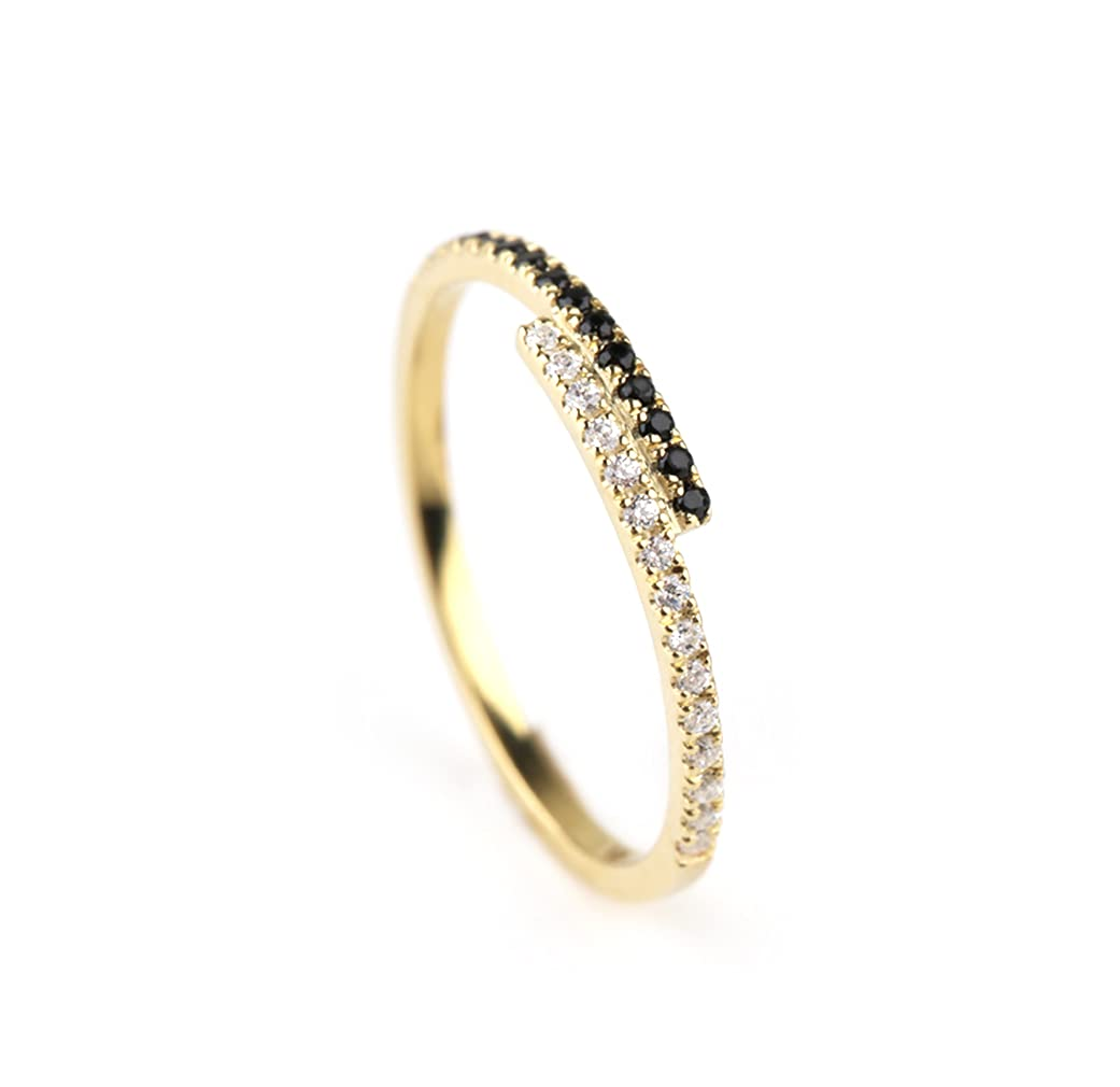 Opening large release sale Elegant jewel box Special price for a limited time Women Diamond horizontal ring Gol bar solid in