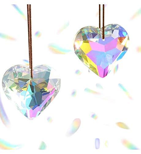 Jubaopen 3PCS Cristales Colores Colgantes Corazón Cristal Corazón Colgante Cristales Colgantes de Ventana Cristal Arcoíris Atrapasoles K9 para Decoración de Ventana Puede Usar Cuerda (4.5*4.5*2.7cm)