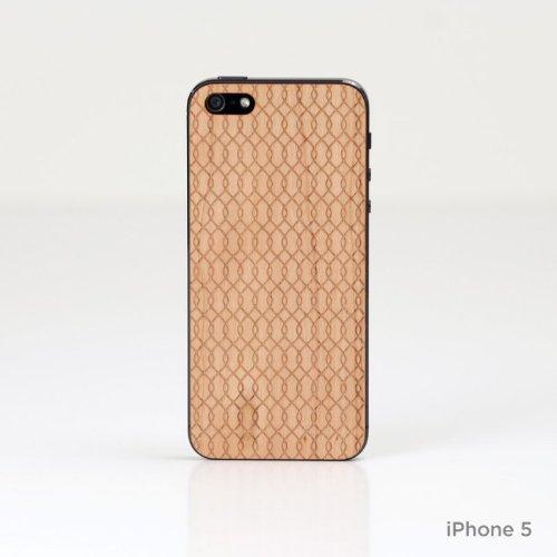 Lazerwood 21700-Cover in Legno per Apple iPhone 5/5S, con Pellicola Proteggi Schermo, Motivo: Onde, Colore: Rosso Ciliegia