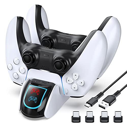 Cargador controlador PS5, estación de carga OIVO PS5 para controlador Dualsense, estación de carga de controlador PS5 para controlador dual Playstation 5, cargador PS5 con 4 dongles USB-C