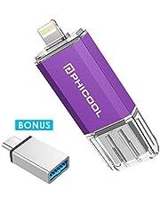 PHICOOL フラッシュドライブ USB メモリー 128GB iPhone PC Android 3in1 専用アプリ OTG Type- C 変換アダプター付属 アルミ合金製