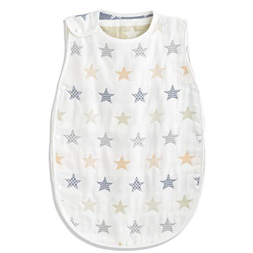 TWONE(トォネ)スリーパーベビー赤ちゃん寝袋6重ガーゼ(商標6247448)女の子男の子オーガニックコットン100%柔らかくお昼寝寝冷え防止通気性新生児~3歳まで出産お祝いギフト(Sサイズ(約35×58cm),星柄・ホワイト)