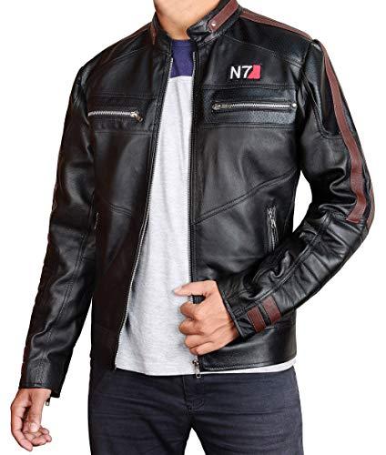 III-Fashions Men's N7 Effect 3 Commander Shepard Street Fighter Black Leather Jacket Cosplay Costume-N7 Jacket Men
