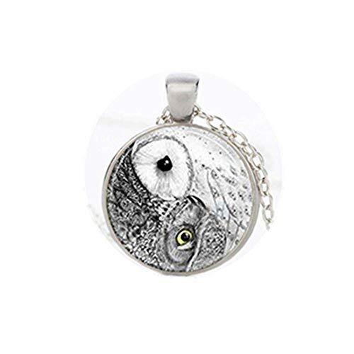 Youkeshan Yin Yang - Collar de búho, joyería de pájaros, colgante de arte de la naturaleza, gargantilla para mujer y hombre (plata)