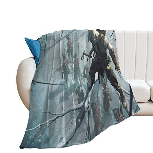 Manta ultra suave y cálida para acampar Assassin's Creed III Game Connor Kenway escondido en un árbol listo para asesinar aire acondicionado manta 60 x 80 pulgadas 150 x 200 cm