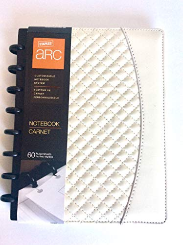 Staples Arc System Customizable Quilted PU Leather Notebook System, 5-1/2 x 8-1/2,Each (Ivory)