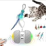 EKOHOME Control Remote Juguetes Interactivos para Gatos, Robótica de 2 Velocidades Modo Automático/Manual con Palos y Plumas, Juguete de Persecución Motorizado Electrónico para Gatito/Gato