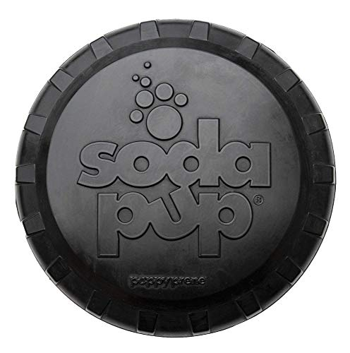 SodaPup Dog Toy - Natural Rubber Magnum Bottle Top Flyer - Dog Flying Disc - Fetch Toy - Tough Rubber for The Most Aggressive Chewers - Black - Large - Made in USA