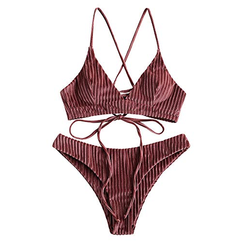 ZAFUL Damen Spaghetti-Träger Gepolstert Solide Bikini Set Beachwear Braun M