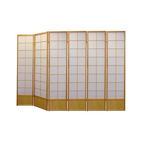 Paravents by Cilios Paravent Hoshi Style 6 XL Nature - blickdichte Stellwand mit Shoji Art bespannt, Sondergröße ca. 190 cm hoch