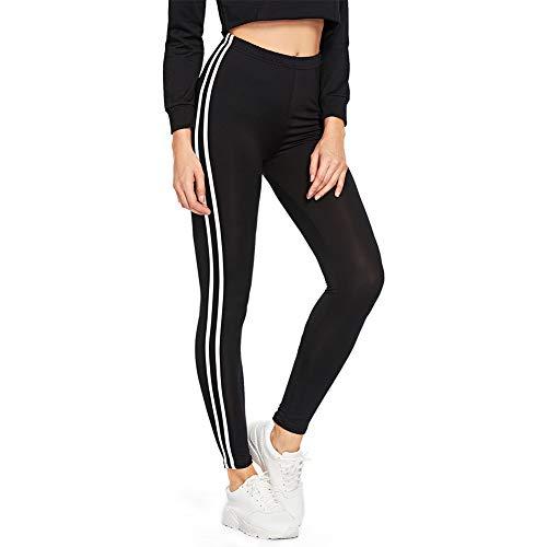 SOLY HUX Damen Leggins Doppelt Streifen Seitenstreift Laufhose Sport Leggings Capris Yoga Pants Training Hose, M,  Schwarz 1