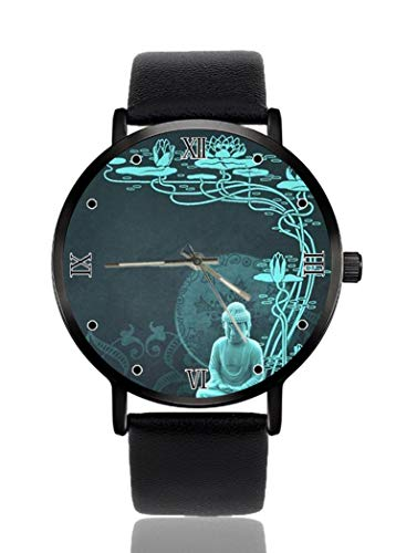 Buddha Butterfly Watch Personalized Custom Watches Casual Black Leather Strap Wrist Watches for Men Women Unisex