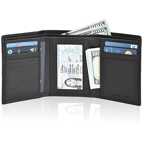 Slim RFID Wallets for Men - Genuine Leather Front Pocket Trifold Wallet (High Black)