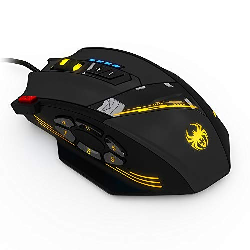 SDCM ZELOTES C-12 Wired Mouse USB Optical Gaming Mouse 12 Programmable Buttons Computer Game Mice 4 Adjustable DPI 7 LED Lights (Color : Black)