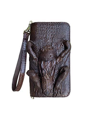 Bolso de mano de piel de cocodrilo genuino para hombres y mujeres de negocios con correa para la muñeca con 2 cremalleras a la bolsa de mano para el bolso de mano de cuero antirrobo para hombre