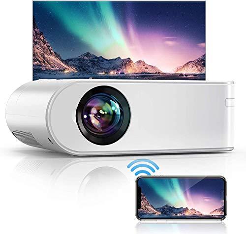 YABER Proiettore WiFi, 6000 Lumens Mini Videoproiettore Portatile 1080P Full HD[Schermo proiezione incluso]Mini Proiettore Wireless Home cinema Portatile per iOS Android Laptop TV Box PS4 ecc