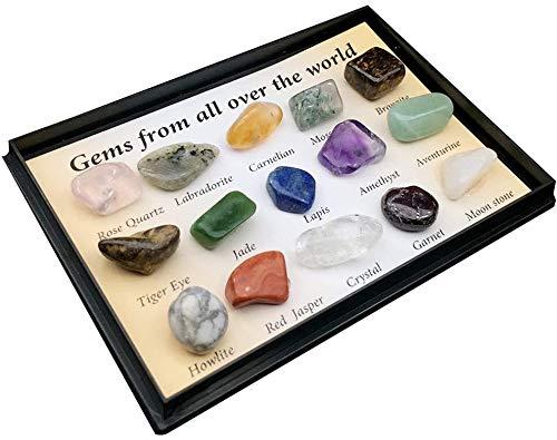 LQKYWNA 15PCS Kit De Colección De Rocas Conjunto De Colección De Piedras Preciosas Naturales Mineral Mixto Especímenes Piedras Preciosas con Caja, Muestra Educativa