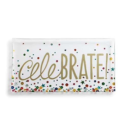 Celebrate Stars and Dots Multicolored 14 x 7 Glass Christmas Rectangular Platter