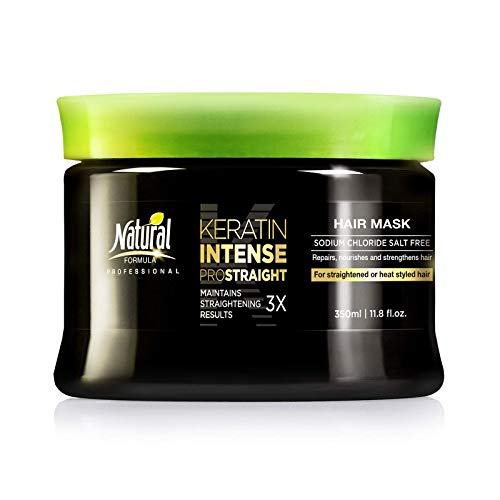 Keratin Intense Repair Hair Mask by Natural Formula - Keratin-Infused Straightening Mask - Sodium Chloride Free Hair Mask - Deep Conditioning Treatment For Frizz-Free Straightened Hair - 11.8 fl oz