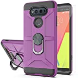 YmhxcY Compatible for LG V20/VS995/H990/LS997/H910 Case with HD Screen Protector,360 Degree Rotating Ring Kickstand Holder Dual Layers of Shockproof Phone Case for LG V20-ZS Purple