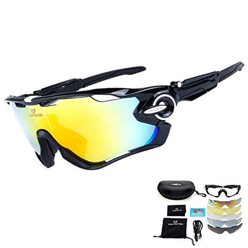 Gafas de sol deportivas polarizadas Protección UV400 Gafas de ciclismo Lentes intercambiables para ciclismo, béisbol, pesca, esquí, carreras, Contiene Cinco Variedad de Lentes de decoración (Negro)