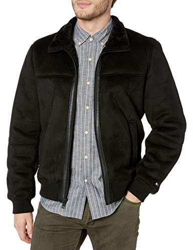 Tommy Hilfiger Men's Classic Faux Shearling Stand Collar Bomber Jacket, Black, X-Large