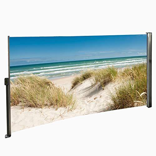 Seitenmarkise Sichtschutz Fotodruck Strand Düne Meer Ostsee Windschutz rechts 160x300 cm