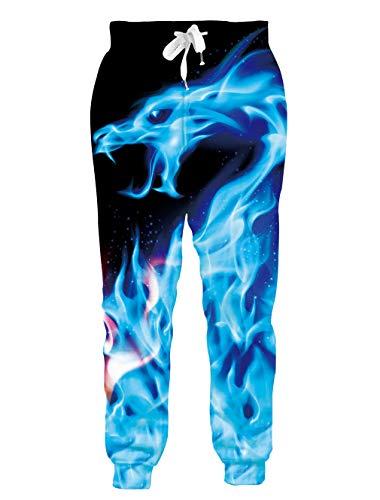 chicolife Unisex Jogginghose 3D Lustige Galaxy Dragon Jogger Hosen Jogginghose Männer Frauen Casual Sport Sportswear mit Kordelzug Taschen XL