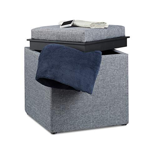 Relaxdays 10021201_709 Pouf Contenitore, PVC, Grigio Scuro, 40.5x40.5x42 cm
