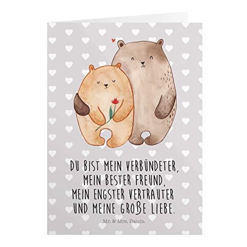 Mr. & Mrs. Panda Einladungskarte, Geburtstagskarte, Grußkarte Bären Liebe mit Spruch - Farbe Grau Pastell