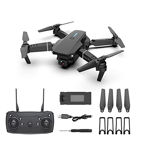 E88 Pro 𝓓𝓻𝓸𝓷𝓮 with Camera for Kids and Adults - with 720P/1080P/4K HD Wide Angle FPV Live Video RC Toys for Adults Boys Beginner, One Key Start - Altitude Hold - Headless Mode - Waypoint Function (1080P Black)
