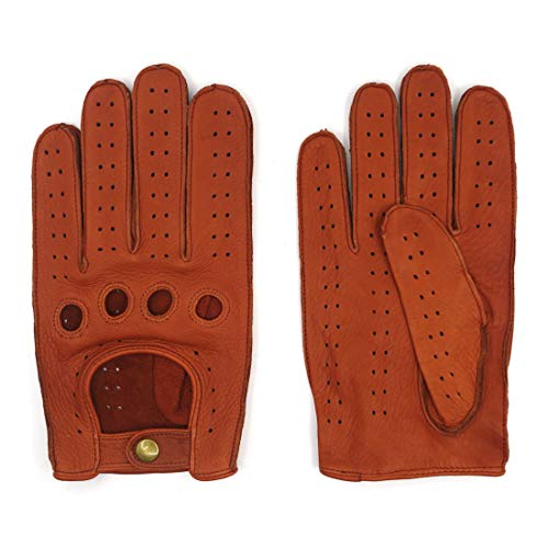 Harssidanzar Mens Leather Driving Gloves Deerskin Unlined, Cognac, L