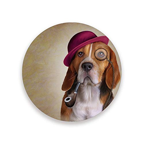 Posavasos absorbentes para bebidas, paquete de 2, divertido diseño de perro Beagle redondo de cerámica con base de corcho para mesa de madera, regalo de inauguración de la casa