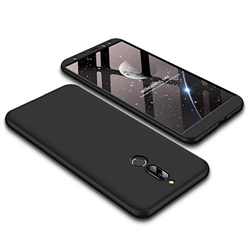 Funda Huawei Mate 10 lite,Carcasa Huawei Mate 10 lite,Funda 360 Grados Integral Para Ambas Caras+Cristal Templado,[ 360°]3 in 1 Slim Fit Dactilares Protectora Skin Caso Carcasa cover Negro