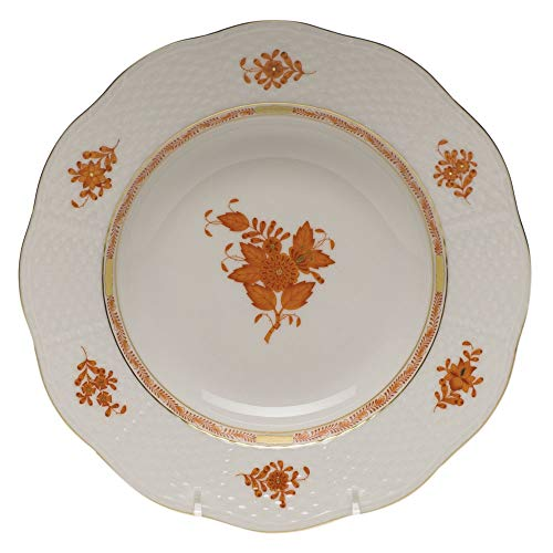 Herend Chinese Bouquet Rust Porcelain Rim Soup Plate