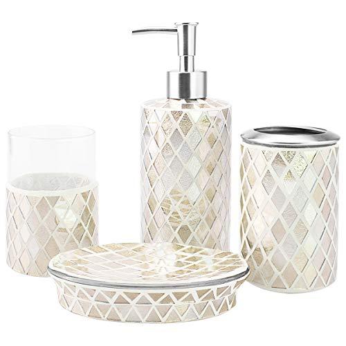 4-Piece Housewares Glass Mosaic Bathroom Accessory Set, Durable Bath Organizer Includes Soap Dispenser Pump, Toothbrush Holder, Tumbler, Soap Dish Sanitary, High Class Home Decor Gift (Gold)